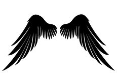 Silhouette wings. Vector illustration on white background. Black. And white style Stock Photography