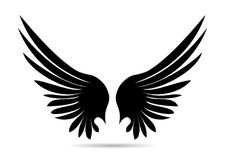Silhouette wings. Vector illustration on white background. Black. And white style Royalty Free Stock Photos