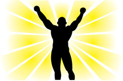 Silhouette of the  winner. Silhouette of the strong winner.Vector Royalty Free Stock Photos