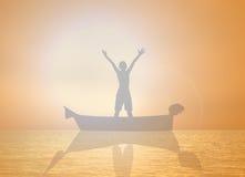 Silhouette winner. On ship Orange background stock illustration