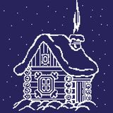 Silhouette of a winter house, hut in the snowdrifts drawn by squares, pixels. Vector illustration stock illustration
