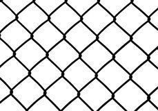 Silhouette of wired fence isolated on white,  Stock Images