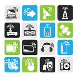 Silhouette wireless and technology icons Stock Photos