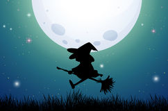 Silhouette witch on broom Royalty Free Stock Photography