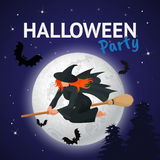 Silhouette of a witch flying on a broomstick across a full moon at twilight for Halloween. Halloween party. Vector Stock Photos