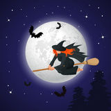 Silhouette of a witch flying on a broomstick across a full moon at twilight for Halloween. Halloween party. Vector Royalty Free Stock Images