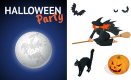 Silhouette of a witch flying on a broomstick across a full moon at twilight for Halloween. Halloween party. Vector Stock Photography