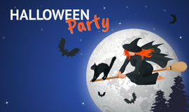 Silhouette of a witch flying on a broomstick across a full moon at twilight for Halloween. Halloween party. Vector Stock Photo
