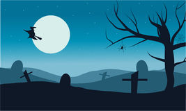 Silhouette of witch flying in tomb vector Halloween Royalty Free Stock Images