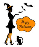 Silhouette of a witch on Halloween Royalty Free Stock Images