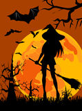 Silhouette of witch - Halloween Royalty Free Stock Photo