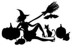 Silhouette witch with pumpkins, cat and bat Royalty Free Stock Photos