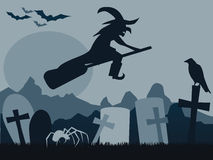 Silhouette of witch raven, cross, tree and bats. Silhouette of witch on broom raven, cross, tree and bats with reflect effect Royalty Free Stock Image