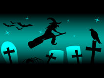 Silhouette of witch raven, cross, tree and bats. Silhouette of witch on broom raven, cross, tree and bats with stars on night Stock Photo