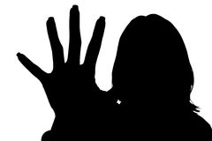 Silhouette With Clipping Path Of Woman With Hand Out Stock Image