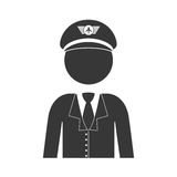 Silhouette With Half Body Captain Pilot Stock Photography