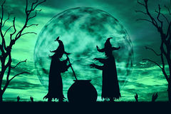 Silhouette of wizards cook poison at moonlight. Background color vintage style , Halloween concept royalty free stock photography