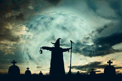 Silhouette of wizards at moonlight. Background color vintage style , Halloween concept stock photos