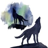 Silhouette wolf on the background of the northern lights watercolor. Set royalty free illustration