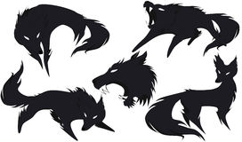 Silhouette of a wolf in different versions. 5 silhouettes of wolves options with a small share of the shadow, vector Royalty Free Stock Photos