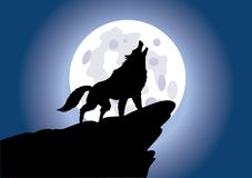 Wolf Howling On The Moon - Vector Illustration stock illustration