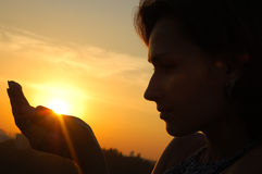 Silhouette  woman. Silhouette of a woman on sunset Royalty Free Stock Image