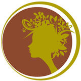Silhouette of woman. Profile of woman with flowers on hair Royalty Free Stock Photo