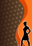 Silhouette of a Woman. A brown and orange background with the silhouette of a woman Royalty Free Stock Images