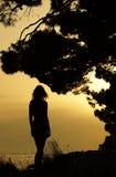 001 silhouette woman Royaltyfria Bilder
