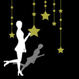 Silhouette of a woman. Woman with a star background - additional ai and eps format available on request Stock Images