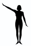 Silhouette woman. With hand holding up Stock Photo
