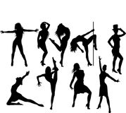Silhouette of woman. Dancing striptease royalty free illustration