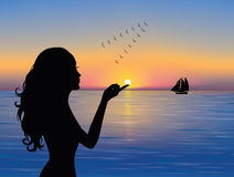 Silhouette _woman. Silhouette of graceful woman touching the sun.  A ship in the distance and a flock of birds flying south Royalty Free Stock Photo