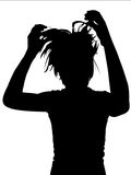 Silhouette woman. Silhouette with crazy hair Royalty Free Stock Photo