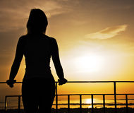 Silhouette of woman Stock Image