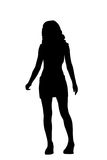 Silhouette woman. With miniskirt Royalty Free Stock Photos