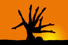 Silhouette woman on back lots of legs Royalty Free Stock Images