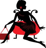 Silhouette of woman with a bag Royalty Free Stock Photos