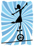 Silhouette of Woman balancing on unicycle on rope stock illustration