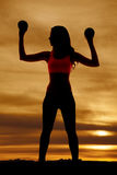 Silhouette woman balls up look side Royalty Free Stock Photography