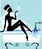 Silhouette of a woman in a bathtub. Illustration of a woman bathing in a vintage bathtub Royalty Free Stock Photography