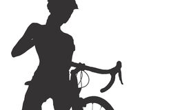 Silhouette of woman with a bicycle Royalty Free Stock Photos