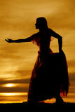 Silhouette woman big dress reach Royalty Free Stock Photos