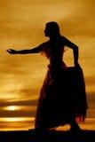 Silhouette woman big dress reach Royalty Free Stock Photos
