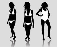 Silhouette woman bikini Stock Photo
