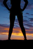 Silhouette woman in bikini heels legs and waist Royalty Free Stock Photo