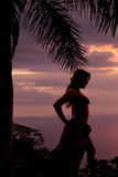Silhouette of woman in bikini and sarong side knee out Royalty Free Stock Photos