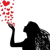 Silhouette Woman Blowing Heart Royalty Free Stock Images