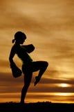 Silhouette woman boxing kick Royalty Free Stock Photo