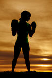 Silhouette woman boxing profile Royalty Free Stock Images